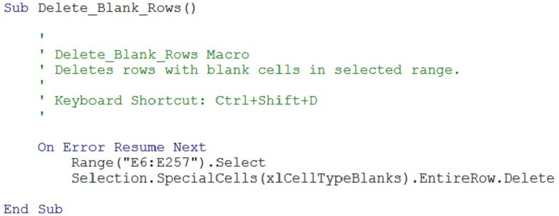 Example of the VBA code for a macro to delete rows with blank cells