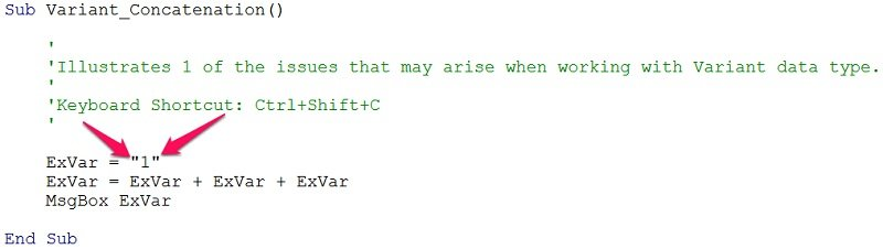 Example of VBA data type Variant variable