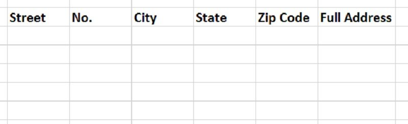 example table of addresses to be filled with Excel text formulas