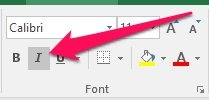 Active Italics toggle button in Excel