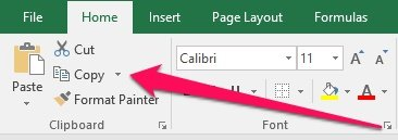 Excel Ribbon with Copy button