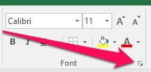 Example dialog box launcher in Excel Ribbon