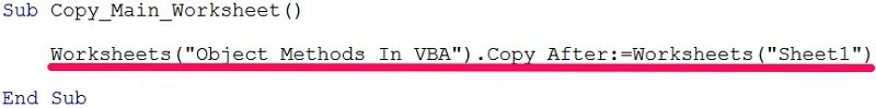 VBA code example with object method arguments