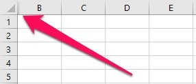 Excel worksheet with column A hidden