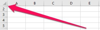 Excel worksheet with row 1 hidden