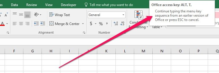 Excel message when using old Alt + keyboard shortcuts
