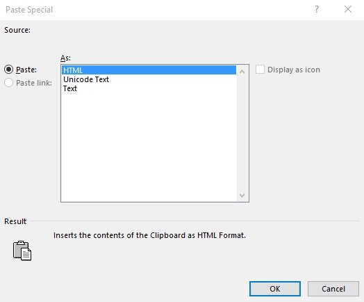 Paste Special dialog in Excel for PDF data