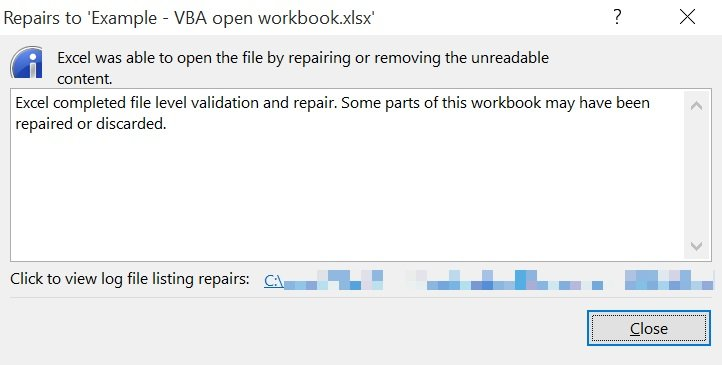 excel repair mode dialog