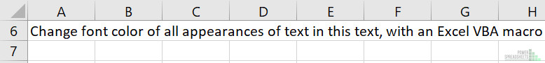 Example Excel workbook before Excel VBA Change Font Color for Part of Text