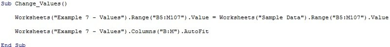 Sample macro to copy values