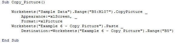 Example VBA code to copy as picture