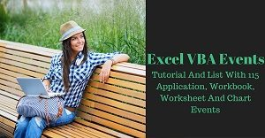 Excel VBA tutorial and list of events