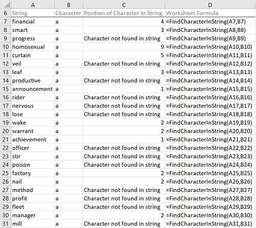 Example: Find character in string with VBA macros