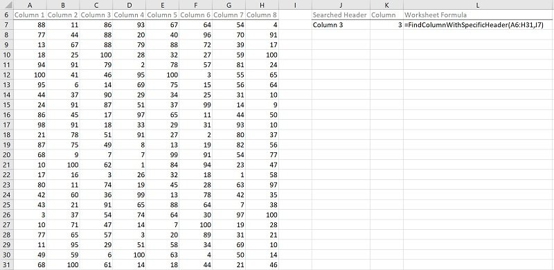 Example: Find column with specific header with VBA macros