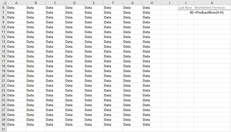 Example: Find last row with VBA macros