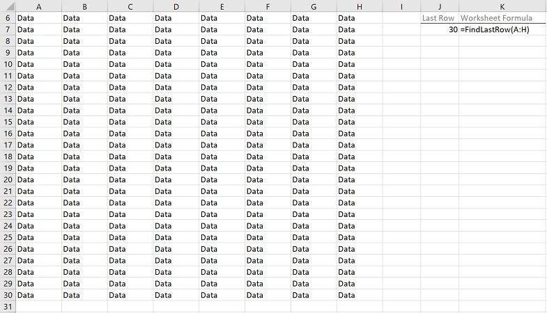 Example: Find last row with VBA macros