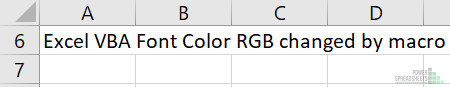 Example Excel workbook before Excel VBA Font Color RGB