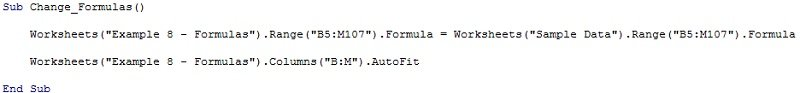 Example alternative macro to copy and paste formulas