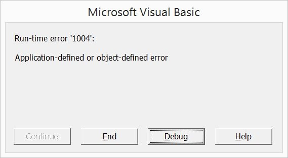 Visual Basic for Applications error message