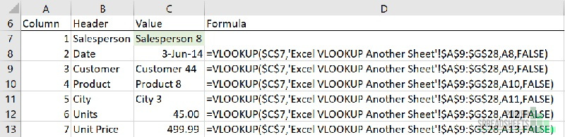 Example: Excel VLOOKUP from another sheet worksheet formulas