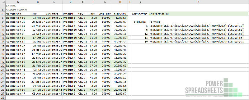 Example: Row number of nth lookup match for Excel VLookup multiple values (with the INDEX function)