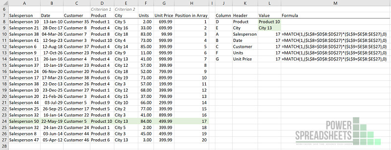 Example: MATCH function finds row where several conditions (for VLookup multiple criteria) are met