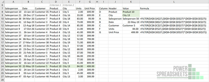 Example: FILTER function for VLookup multiple criteria (with the FILTER function)