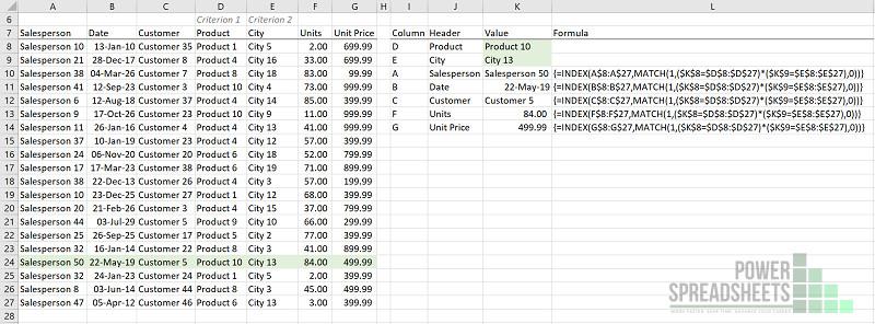 Example: Enter Excel VLookup multiple criteria (INDEX MATCH) as array formula