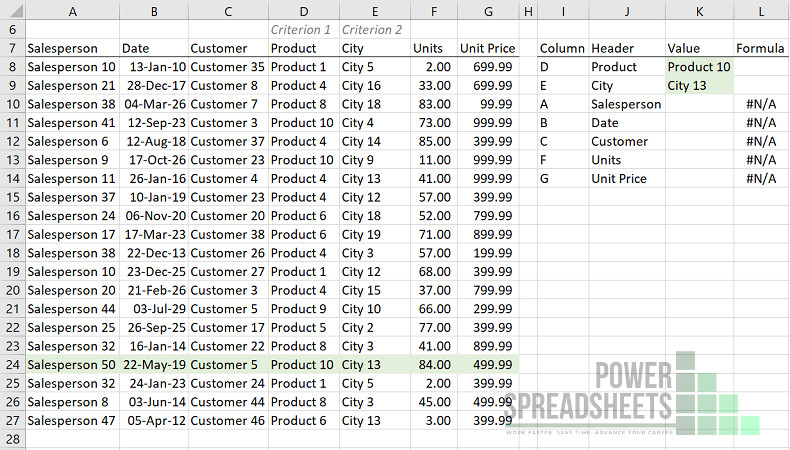 Example: Data for VLookup multiple criteria (with XLOOKUP) formula