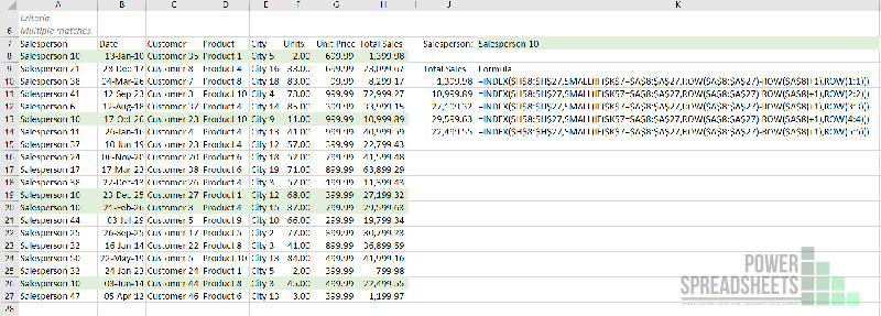 Example: Extract value in nth row for Excel VLookup multiple values (with the INDEX function)