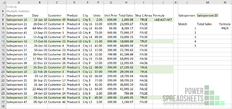 Example: VLookup Test for VLookup to return multiple values (with the FILTER function)