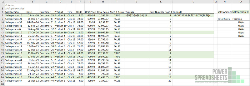 Example: Row numbers where lookup value is found for Excel VLookup multiple matches (with the INDEX function)