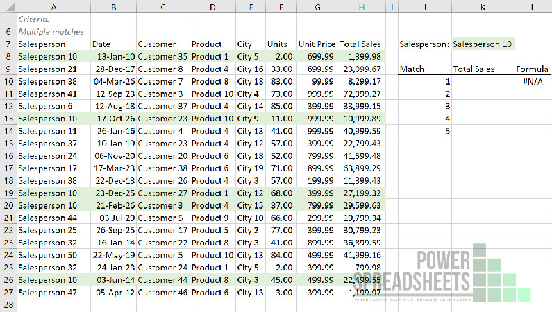 Example: Data for VLookup to return multiple values (with the FILTER function)