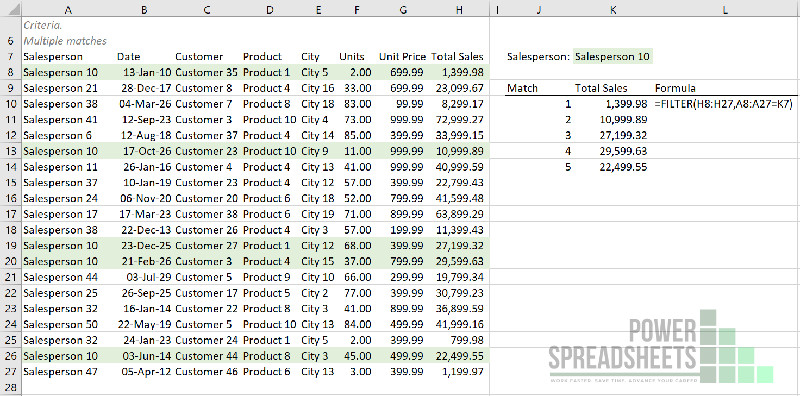 Example: VLookup to return multiple values with the FILTER function