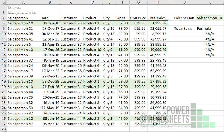 Example: Data for Excel VLookup to return multiple values (with the INDEX function)