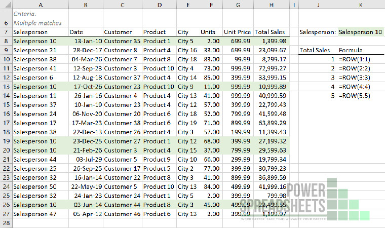 Example: Row number for nth lookup match for Excel VLookup multiple matches (with the INDEX function)