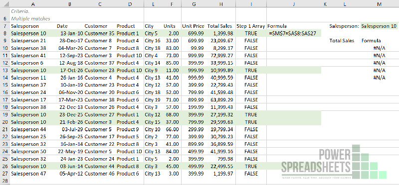 Example: Set up the VLookup test to return multiple values (with the INDEX function)