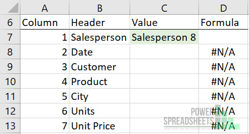 Example: Table for VLOOKUP between sheets formulas