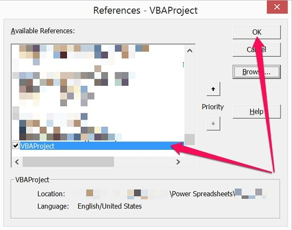 Closed Excel workbook added as reference in Visual Basic Editor