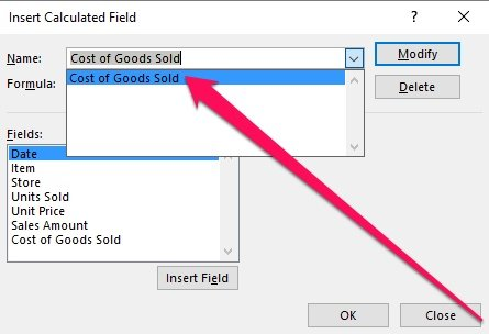 Insert Calculated Field and Name with selection