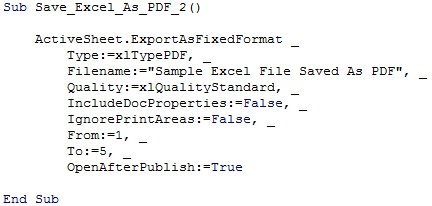 Example of VBA code to save Excel as PDF