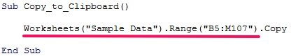 Range.Copy VBA method in code example