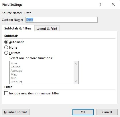 Field Settings dialog box