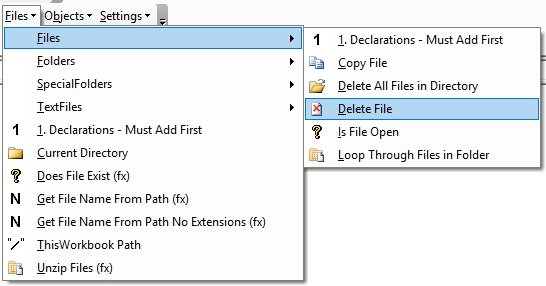 Work with files and folders
