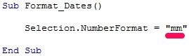 Example of VBA code to format date as mm