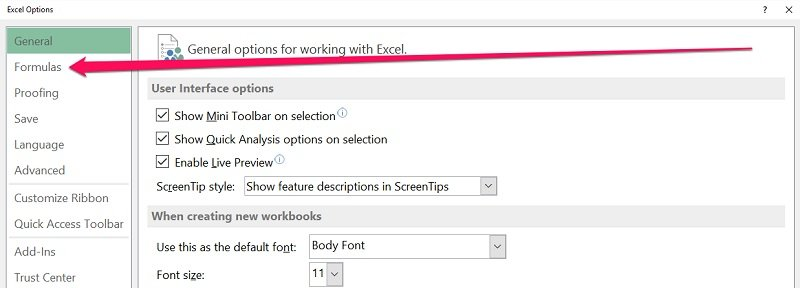Formulas tab in Excel Options dialog