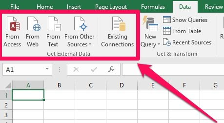 Commands to get external data in Excel