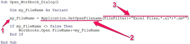 getopenfilename method vba code