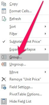 Context Menu > Group