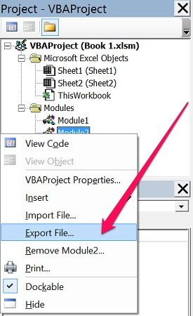 Export File in context menu of VBE